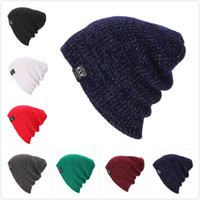 Wholesale blue yellow beanie - 2018 kLV Winter Hats For Women Men Warm Casual Cotton Hat Crochet Slouchy Knit Baggy Oversized Ski Beanie Hat Female Skullies Beanies