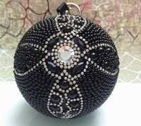 день чернокожих женщин  оптовых-New Black Ball Bags  Rhinestone Handmade Handbags Fashion Women Party Day Clutches Chain shoulder bags Evening