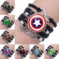 Wholesale superman bracelets - 2018 Fashion Super Hero Superman Glass Cabochon Infinity Love Leather Bracelet For Girls Women time gemstone Accessories Jewelry Gift 320052