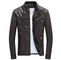 jaquetas de marca mens venda por atacado-Primavera outono mens jaquetas de couro pu gola casacos masculinos motocicleta magros outerwear mens clothing marca