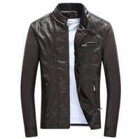 подставки для мотоциклов оптовых-Весенние осенние мужские PU кожаные куртки Стенд воротник пальто Мужской мотоцикл Slim Верхняя одежда Мужская марка одежды
