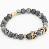 Wholesale marble beads wholesale - Crown Charm Bracelet Natural Marble Stone Bead Elastic Yoga Bracelet Women Pulseras Mens Bracelet