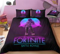 3d bedding set toptan satış-Oyun Fortnite Nevresim Ikiz FUll Kraliçe Kral Yorgan Kapakları ile Çift Yastık Kılıfı Çocuklar Yetişkin Fiber Karikatür Baskı Yatak Seti Xmas