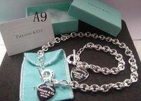 box verpackung china großhandel-2018 Hot Weihnachtsgeschenk Tif925 Silber Modeschmuck Halskette und Armband Originalverpackung Geschenkboxen Set mit Box