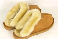 kapalı kar botları toptan satış-Erkek Terlik Sıcak İnek Süet Terlik Erkek Bayan Terlik Bayan Bot Kar Botları Marka Tasarımcı Kapalı Pamuk Terlik Deri Terlik