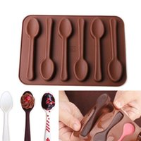 Wholesale Christmas Jelly Moulds - 6 Holes Spoon Shape Chocolate Molds Silicone DIY Cake Decoration Molds Jelly Ice Baking Mould