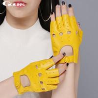 ingrosso le donne fingerless ei guanti in pelle-Guanti in vera pelle da donna primaverile guida Guanti mezze dita in pelle di capra sfoderati Guanti senza dita in forma di fitness