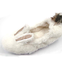 Wholesale rabbit slippers - Winter cotton slippers female small white rabbit long hair lovable warm soft bottom bag home shoes