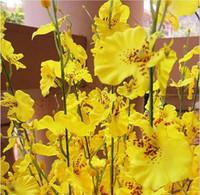 ingrosso orchidee di seta gialle-Prezzo all'ingrosso! Giallo Ballando Buerfly Orchid Artificiale Oncidium Fiori di seta Decorazione di nozze a casa 6Pcs / Lot