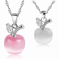 encanto de piedra opal al por mayor-Colgante de piedra de Opal de alta calidad collar rosa blanco encanto de Moonstone de Apple Cadena de plata Para mujeres señoras Joyería de moda a granel