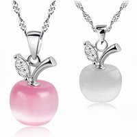 Wholesale Pink Apple Jewelry - High quality Opal stone pendant necklace pink white Apple Moonstone charm Silver chain For women ladies Fashion Jewelry in Bulk