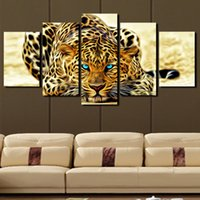 Wholesale 5 Panels Beautiful leopard Large Modern Abstract Canvas Oil Painting Print Wall Art Decor for Living Room Home Decoration Framed Unframe