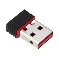 usb bilgisayar kartı toptan satış-Mini PC WiFi adaptörü 150 M USB WiFi anten Kablosuz Bilgisayar Ağ Kartı 802.11n / g / b LAN + Anten wi-fi adaptörleri perakende ile 200 adet / grup