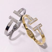 steinlehm großhandel-Marke voller cz Steinen Edelstahl Armband Armreif für Frauen Selbst entworfene doppelte T-förmigen weißen Ton bohren Frühling Armband
