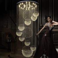 merdiven kolye lambası toptan satış-Modern Sarkıt Avizeler Kristal Merdiven Işık Büyük Kristal Işık Kristal Tavan Işık Merdiven Merdiven Fuaye Tavan Lambası