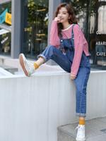yeni stil kadın pantolon toptan satış-S-L 2018 sonbahar yeni Bayan Denim Tulumlar Tulumlar kore tarzı rahat Kot bayan roll up casual pantolon (B860)