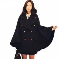 polyester ponçolar toptan satış-Kış Yeni Pist Tasarımcı Kadınlar Boy Yün Panço Donanma Pelerin Ceket Kadın Pelerin manteau femme abrigos mujer Kalın sıcak