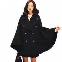 837d45679 Winter Newest Runway Designer Women Oversized Wool Poncho Navy Cape Coat  Female Cloak manteau femme abrigos mujer Thick warm