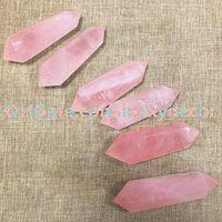 ingrosso reiki rosa al quarzo-6 Facet Doppio Punto Terminale Punto Sacro Genuine Natural Sheer Rose Quartz Healing Crystal Gemstone Prisma Bacchetta 60-80mm Reiki Stones Figurine