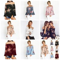 Wholesale summer maternity clothes - Fashion Women Floral Blouse Summer Tops Long Sleeve Off Shoulder Shirt Loose Casual Blouse Tops Women Clothes Maternity Tops