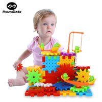 Wholesale Building Blocks Electric Toy - 81 Pieces Electric Magic Gears Building Blocks Kits Plastic Bricks Educational Toys For Children Kids Toy Christmas Gifts