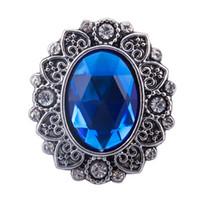 botones de flores de metal al por mayor-10 unids / lote cristal azul metal botón a presión diamantes de imitación botón de encanto Fit 18 mm bricolaje broche de broche de flor broche pulseras accesorios