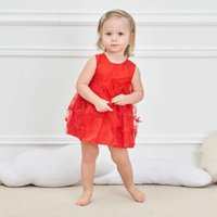Wholesale leopard tulle - Baby lovely Dress O neck 100% Cotton Lining Embroidered Flower Sleeveless with Bow Princess Dress White Pink Red Summer