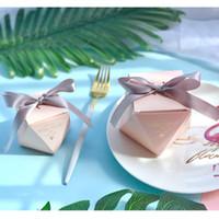 cajas del favor de la boda azul al por mayor-40 unids rosa azul caja de regalo del favor del diamante favores de la boda favores de la caja despedida de soltera bebé nupcial mesa de ducha favores partido