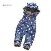 jeanskleid für kinder mädchen großhandel-Bib Jeans für Mädchen Kinder Kleidung Kinder Jeans Baby Kleid Mode mit Kapuze Jeans Overall für einen jungen niedlichen Baby Mädchen Kleidung Sterne