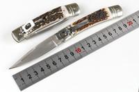 ingrosso coltelli di acciaio migliori-Migliore Italia A-K Mafia 7.8 POLLICE D2 Acciaio Singola Azione Pieghevole Coltelli Antlers Maniglia Coltelli Automatici Campeggio Regalo Di Natale Coltello Per Uomo