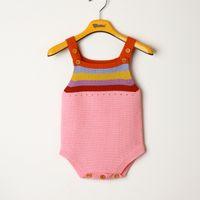 camisolas bonitas frete grátis venda por atacado-2018 New Fashion Cute Rainbow bebê recém-nascido menina sem mangas de malha Romper macacão camisola roupa KA716 frete grátis