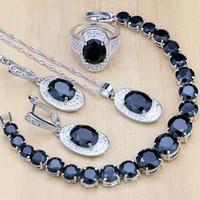 zirkon taşlı küpe seti toptan satış-925 Gümüş Gelin Takı Setleri Siyah Zirkon Beyaz CZ dekorasyon Kadınlar Için Düğün Küpe / Kolye / Kolye / Yüzük / Bilezik