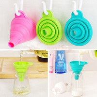 Wholesale cooking funnel - 2 Pcs   Set Mini Collapsible Silicone Funnel Foldable Hopper Save Space Useful Kitchen Cooking Tools Transferring Liquid Powder MMA74