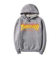 Wholesale letters magazine - Skateboard Magazine Fire Hoodie Men Black Gray Fashion Streetwear Skate Hoodie Sweatshirts Sweater coat