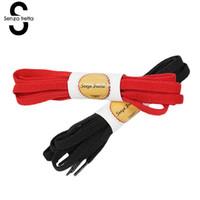 cordón negro de los hombres al por mayor-Senza Fretta 130cm Cordones Zapatillas de cordones de poliéster planas Cuerdas para zapatillas de lona Zapatillas de lona Mujer Hombre Cordones Negro Blanco Rojo Cordones de los zapatos