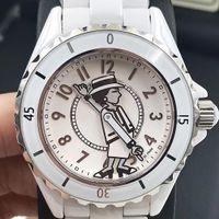 saphir quartz noir en céramique achat en gros de-Miroir en verre saphir céramique blanc / noir de dame de luxe montres de haute qualité quartz mode exquise montres femmes