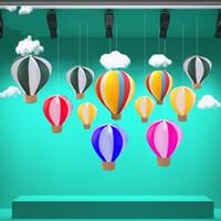 ingrosso proiettili a palloncino-Fuoco Balloons Mercato appeso accessori Handmade Pieghevole Seta Rete Hot Air Balloon Decorare Partito Prop Display Finestra 55bt3 V
