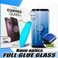 ingrosso liquido di mela-Vetro temperato UV per Iphone XS MAX XR X Adesivo per Samsung Galaxy S10e S10 Note 9 8 S8 S9 Plus Full Liquid
