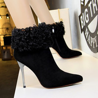 Wholesale cowboy boots wedding dress for sale - Fashion Winter Lady Short Boot Dress Shoes Women High Heels Suede Festival Party Wedding Shoes Stiletto Formal Pumps Ankle Boots GWS597