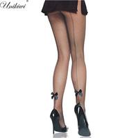 tatuajes de arco sexy al por mayor-UNIKIWI Medias de mujer Sexy One Line Design Medias de rejilla de arco.Ladies Backside Line Pantimedias de tatuaje Femenino Medias de red de malla