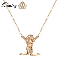 Wholesale love god necklace resale online - QIMING Adam Eve Pendant Necklace God Bible Couple Lover Silver Golden Women Men People Figure Love Necklace Collier