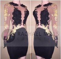 Wholesale Semi Jewels - 2018 Cheap Black Sheer Long Sleeves Cocktail Dress Mini Short Lace Semi Club Wear Homecoming Graduation Party Gown Plus Size Custom Made