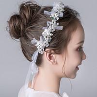 ingrosso corone d'epoca d'epoca-2018 Vintage Perle Cristalli Flower Girls Crowns Economici Beautiful Little Girl Pageant Crown Fashion Regali di Natale C07