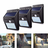 paneles solares al por mayor-8/16/20 LED de luz solar Powered Panel impermeable PIR Sensor de movimiento lámpara de pared para patio cerca Jardín de la ruta de la yarda