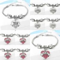 encantos de pulseiras venda por atacado-54 tipos de Diamante amor Coração pulseira charme cristal membro da família Mãe Filha Avó Acredite Fé Esperança melhor amigo pulseira para as mulheres