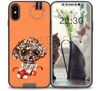 Wholesale Iphone Panda Cases 3d - Embroidery 3D Cute dog case for Samsung S8 Plus cartoon panda TPU PC with ring soft Back cover For iPhone X 8 7 6s Plus Retail package
