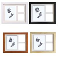 molduras para creche venda por atacado-Bebê recém-nascido Handprint Pegada De Madeira Photo Frame Kit Bebê Limpo-Toque Almofada De Tinta Nursery Decor