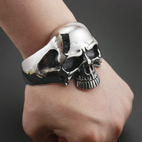 тяжелый браслет из черепа оптовых-316L Stainless Steel Huge Heavy Skull Mens Biker Rocker Punk Bracelet Bangle Cuff 5J022