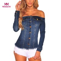джинсовые блузки оптовых-MUQGEW мода блузка Слэш шеи женщины полный рукав блузка джинсовая с плеча кнопка повседневная топы блузки blusa де mujer blusa