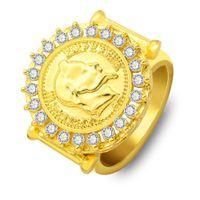 новые чешские ювелирные украшения оптовых-Новое золотое кольцо для мужчин и женщин хип-хоп кольца с Наполеоном III шаблон мозаика чешский дрель мода кольца подарок ювелирные изделия